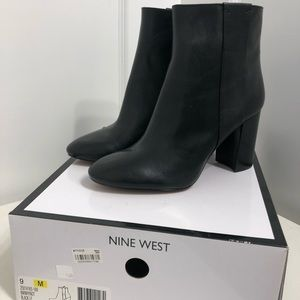 "NIB Nine West ""Why Not"" Black Leather Bootie 9M"